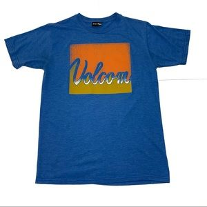 👑 Volcom Blue Spell Out Graphic Tee Men Sz Small